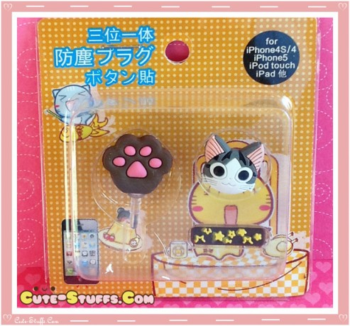 Kawaii Ipod Iphone Ipad Dust Plug Set Data Chi's Sweet Home Cat