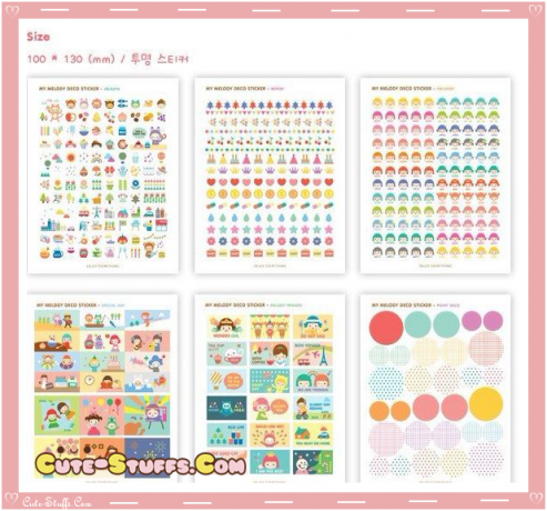 Kawaii Melody 6 Sheet Diary & Planner Transparent Stickers!