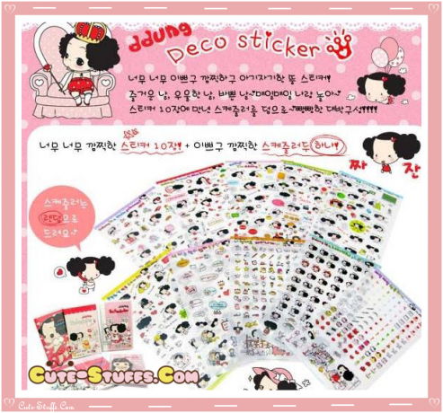 Kawaii Ddung 6 Sheet Diary & Planner Transparent Stickers!