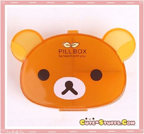 Kawaii Pill or Trinket Box - Clear Rilakkuma!