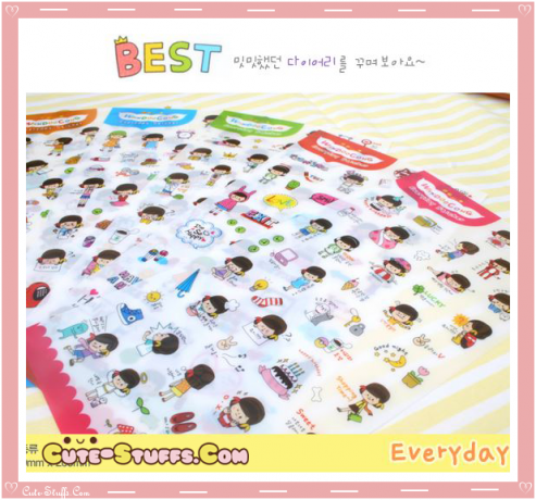 Kawaii Everyday 6 Sheet Diary & Planner Transparent Stickers!
