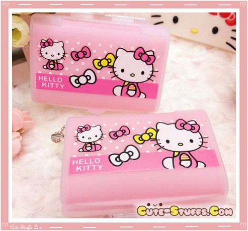 Kawaii Pill or Trinket Box - Translucent Hello Kitty Multi Layered!