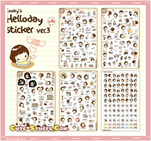 Kawaii Cooky's Hello Day 5 Sheet Diary & Planner Transparent Stickers!