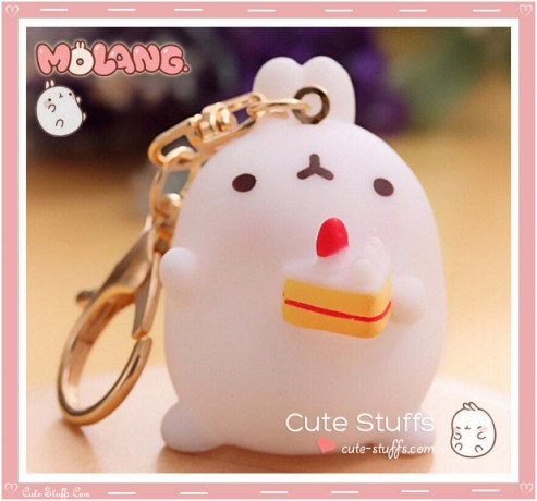 Kawaii Molang Soft Rubber Gold Plated Keychain - Cake