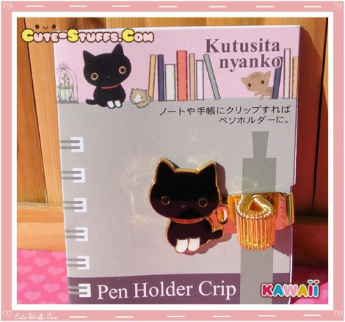 Kawaii San-X Kutsushita Nyanko Gold Plated Pen Holder Clip