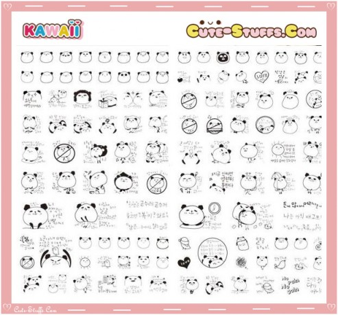 Kawaii Transparent Panda Sticker Set! 4 Pages! Rare!