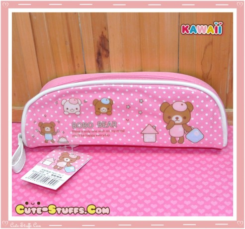 Kawaii Pink Plastic Pencil Case - Bear
