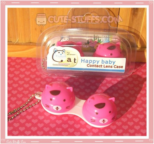 Kawaii Animal Series 1 Capsule Contact Lense Case! - Pink Cat