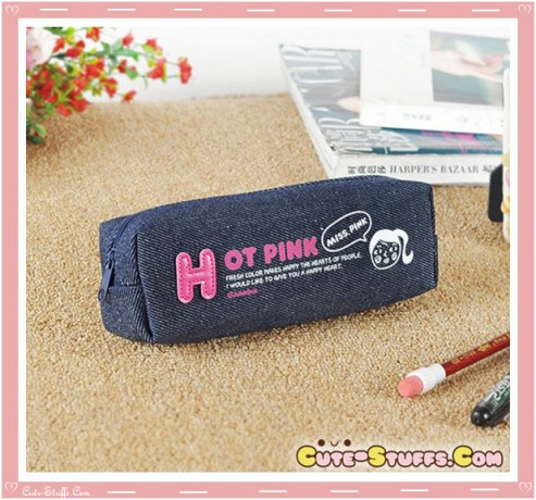 Kawaii Colorful Denim Pencil Case - Hot Pink Girl