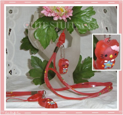 Kawaii Rare Flashing Hello Kitty Rubber Translucent Lanyard! Red