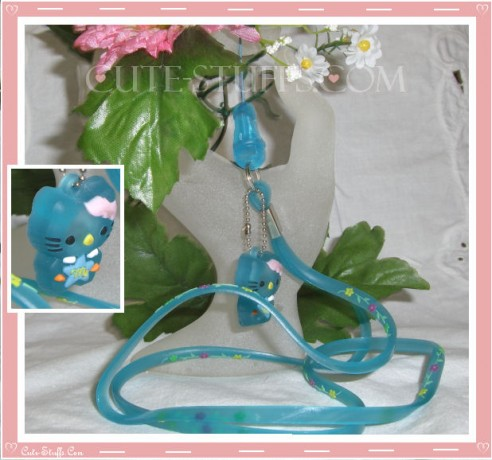 Kawaii Rare Flashing Hello Kitty Rubber Translucent Lanyard! Blue