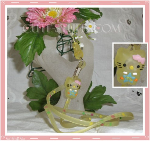 Kawaii Rare Flashing Hello Kitty Rubber Translucent Lanyard! Yellow
