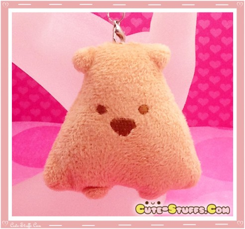 Kawaii Unique Plush Triangle Phone Strap or Keychain Charm! Brown!