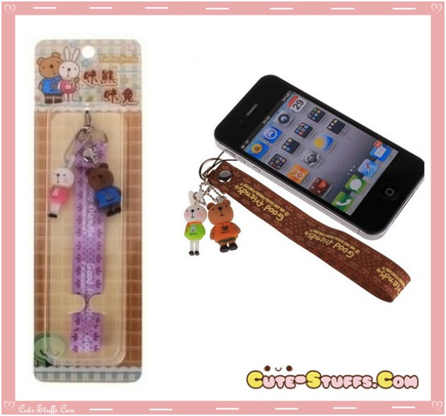 Kawaii RARE MeToo Double Charm Phone Strap w/ Wrist Strap! Purple