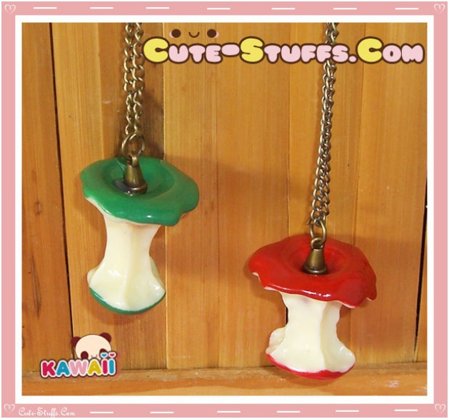 Kawaii Retro Apple Core Necklace Red or Green - U Choose Color!