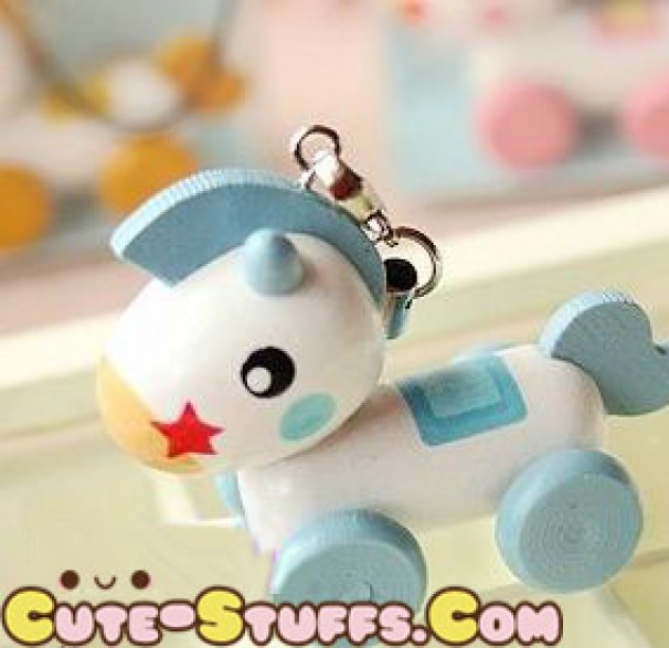 Kawaii Rilakkumas Wood Pull Along Horse Red Phone Strap Rare