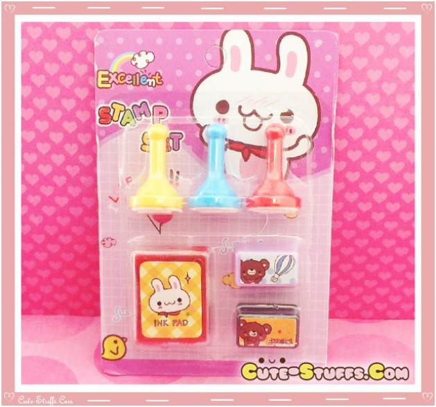 Kawaii Stamp Set! Pink Bunny