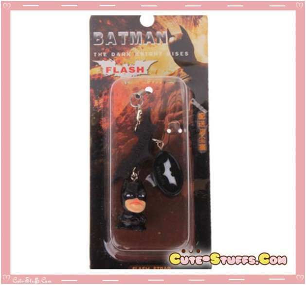 Kawaii 3 PC Batman Rare Flashing Phone Charm w/ Plug!