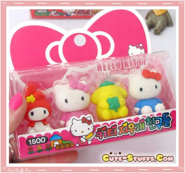 Kawaii Rare Hello Kitty & Friends Eraser Set! So Cute!