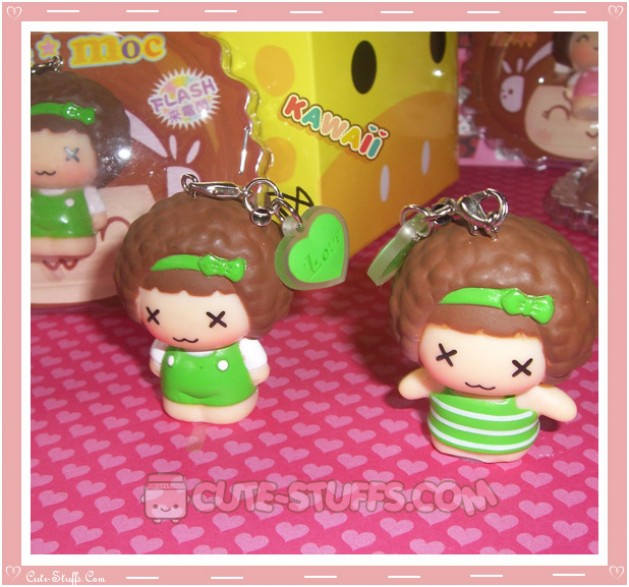 Kawaii Rare Flashing MocMoc Phone Charm! Green!