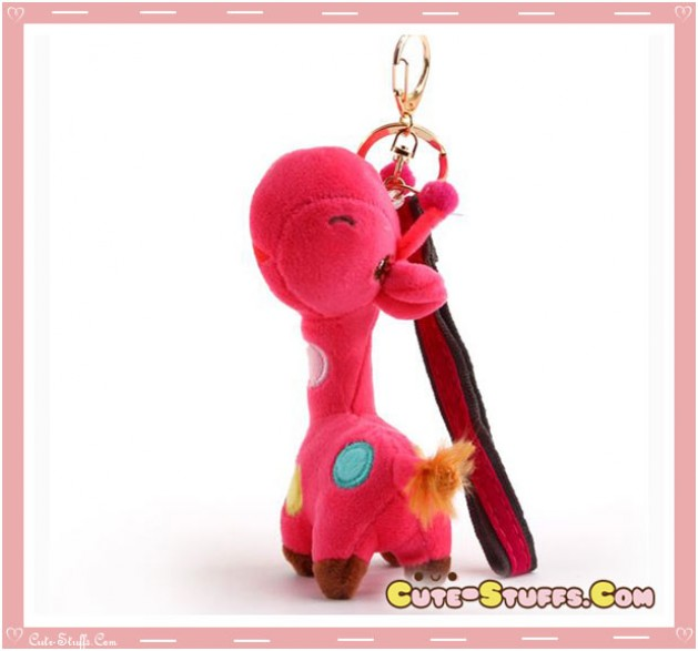 Large Kawaii Nanaco Giraffe Plush Key Chain w/ Wrist Strap! Hot Pink!