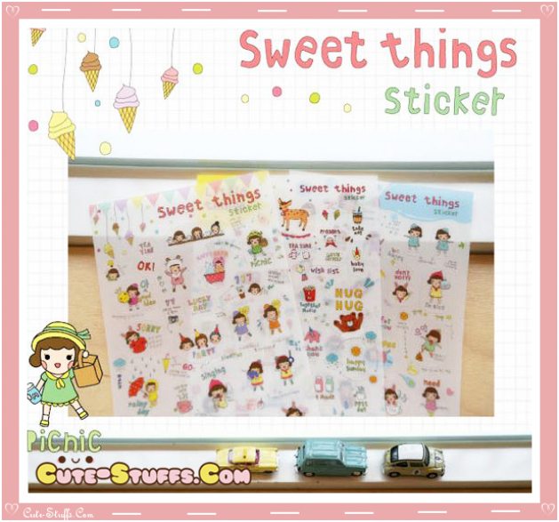 Kawaii Sweet Things 6 Sheet Diary & Planner Transparent Stickers!