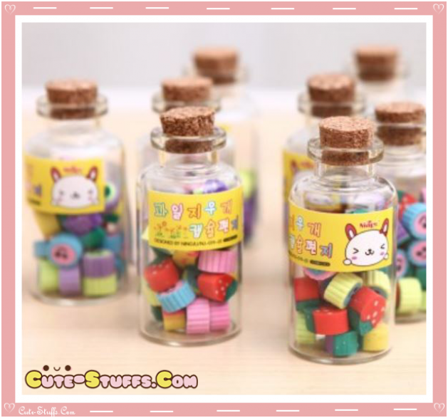 Kawaii Rare Fruit Eraser Set In Glass Jar! So Cute!