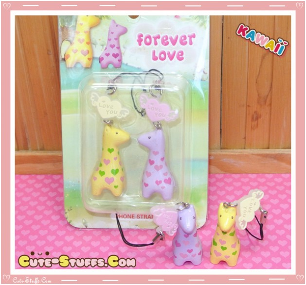 Kawaii Rare Plump Giraffe Phone Strap Set!