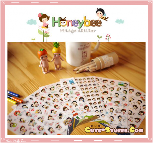 Kawaii 6 Sheet Diary & Planner Transparent Stickers! Honey Bee!