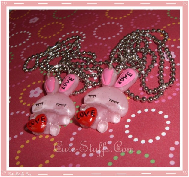 Kawaii Love Rabbit Resin Necklace