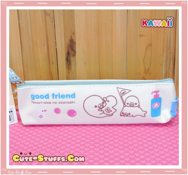 Kawaii San-X Mamegoma Canvas Pencil Case - Blue