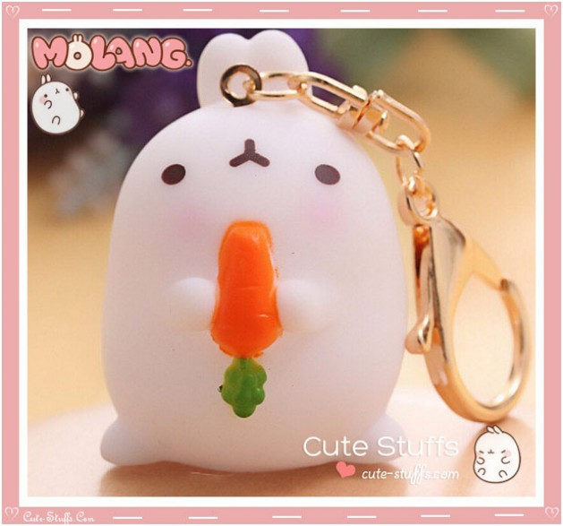 Kawaii Molang Soft Rubber Gold Plated Keychain - Carrot