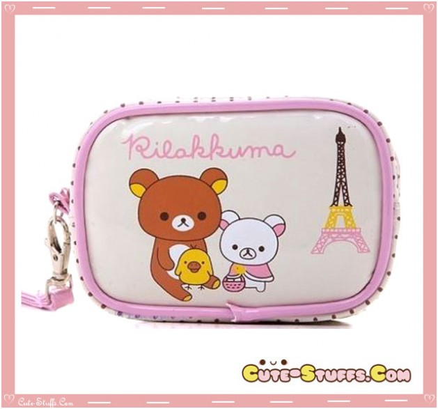 Kawaii Rilakkuma & Korilakkuma PU Leather Carry Bag! Eiffel Tower!