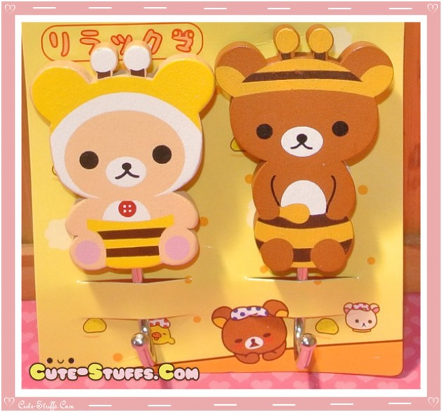 Kawaii Large Rilakkuma w/ Korilakkuma Wood Hook Set