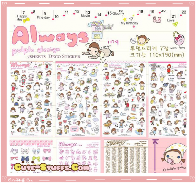 Kawaii Always Sweet 6 Sheet Diary & Planner Transparent Stickers!