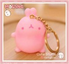 Kawaii Molang Soft Rubber Gold Plated Keychain - Pink
