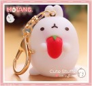 Kawaii Molang Soft Rubber Gold Plated Keychain - Strawberry