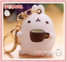 Kawaii Molang Soft Rubber Gold Plated Keychain - Coffee