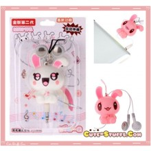 Kawaii Retractable Bunny In-Ear Headphones - White!