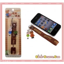 Kawaii RARE MeToo Double Charm Phone Strap w/ Wrist Strap! Brown & Green