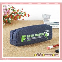 Kawaii Colorful Denim Pencil Case - Green Balloon