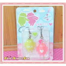 Kawaii Rare Android Robot Phone Strap Set! Green & Pinkl!