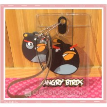 Angry Birds Luggage Tag and ID Holder - Black w/ Plush Charm