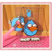 Angry Birds Luggage Tag and ID Holder - Blue w/ Plush Charm
