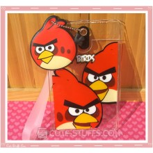Angry Birds Luggage Tag and ID Holder - Red w/ Plush Charm