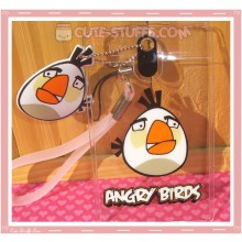 Angry Birds Luggage Tag and ID Holder - White w/ Plush Charm
