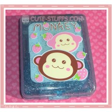 Kawaii Blue Monkey Large Contact Lens Case