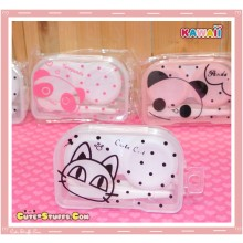 Kawaii Translucent Travel Lens Case or Trinket Box! - Cute Clear Cat