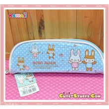 Kawaii Blue Plastic Pencil Case - Bunny