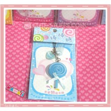 Kawaii Rare Flashing Lolli Pop Phone Charm! Blueberry!